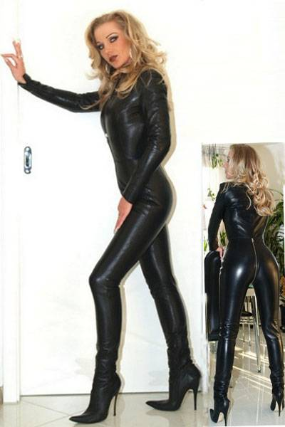 Black Faux Leather 4 Zip PVC Catsuit Fetish Small/Medium/Large Sizes