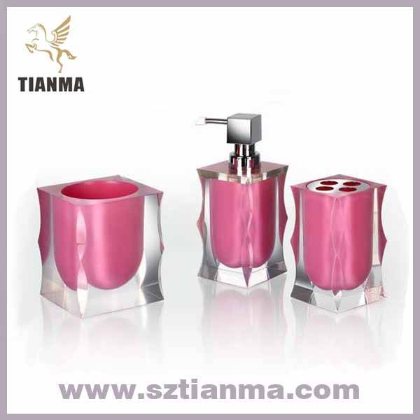 Acrylic resin pink bathroom accessories sets manufacturer for Pink bathroom accessories sets